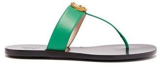 Gucci Gg Marmont Leather Sandals - Womens - Green