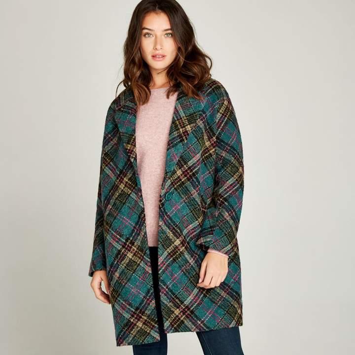 Teal Plaid Coat