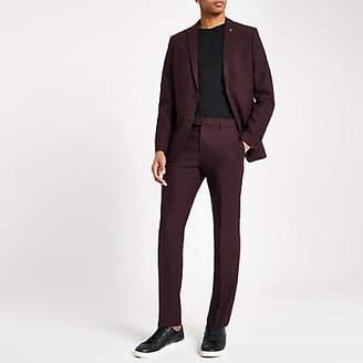 River Island Farah burgundy hopsack skinny suit trousers