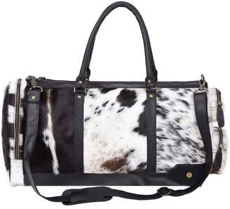 Mahi Leather Leather Columbus Duffle Bag In Black & White Animal Print Pony Hair