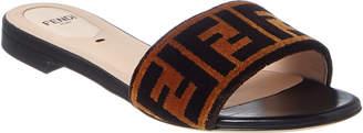 Fendi Ff Leather & Velvet Slide Sandal