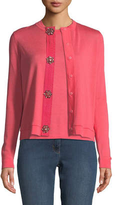 Escada Jewel-Snap Long-Sleeve Wool Cardigan
