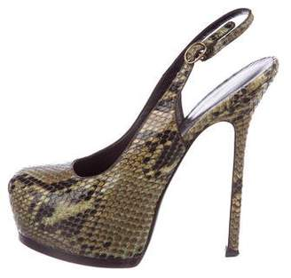 Saint Laurent Snakeskin Slingback Platform Pumps