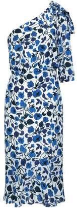 Saloni Juliet One-shoulder Silk Crepe De Chine Midi Dress