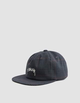 Stussy Small Check Strapback Cap in Grey