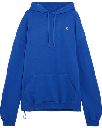 Vetements - Oversized Printed Cotton-blend Jersey Hooded Top - Bright blue $990 thestylecure.com
