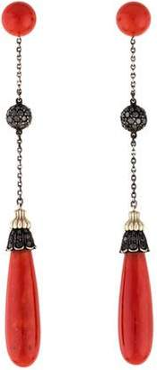 Black Diamond 18K Coral & Drop Earrings