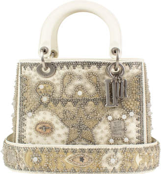 Christian Dior Lady Beaded Silver-tone White