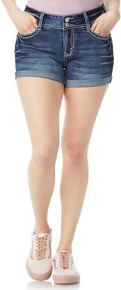 Juniors' Wallflower Bling Luscious Curvy High-Waisted Denim Shortie Shorts