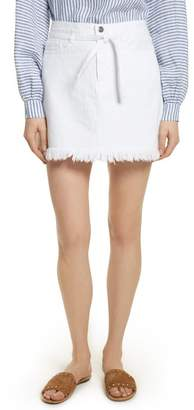 Frame Le High Fray Hem Belted Denim Skirt (Blanc)