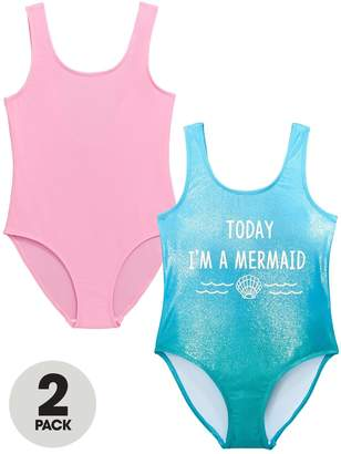 Very Pack of 2 Girls Mermaid Shimmer Swimsuits – Pink/Blue