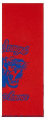 Gucci Wool Tiger Jacquard Scarf, Navy/Red $265 thestylecure.com