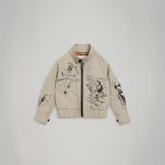 Burberry Adventure Print Gabardine Harrington Jacket