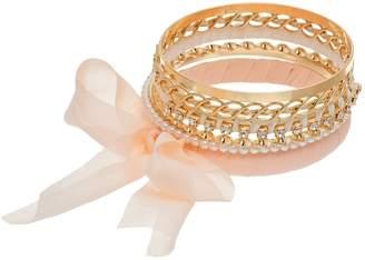 Mudd Simulated Pearl & Chiffon Bow Bangle Bracelet Set
