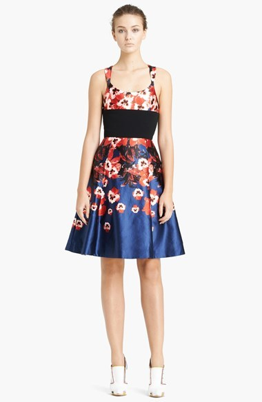 Prabal Gurung Pansy Print Circle Skirt Dress