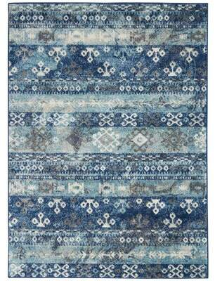 Bungalow Rose Malm Persian Oriental Ivory/Blue Area Rug