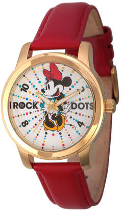 Disney Womens Minnie Mouse Red And Gold Tone Rock the Dots Strap Watch