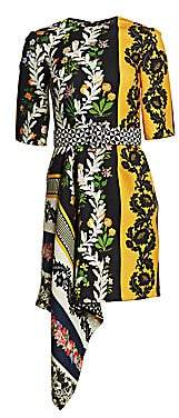 Oscar de la Renta Women's Contrasting Print Asymmetric Short Dress
