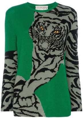 Valentino tiger intarsia cashmere jumper