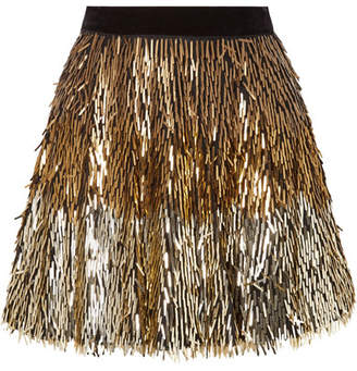 Alice + Olivia Alice Olivia - Cina Sequined Tulle Mini Skirt - Gold
