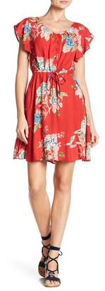 Angie Front Button Floral Print Dress
