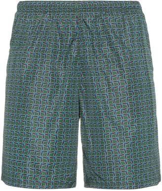 Prada Green Geometric Pattern Swim Shorts