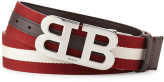 Bally Mirror B Reversible Web-Leather Belt, Brown