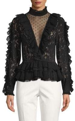 Ronny Kobo Grace Long-Sleeve Lace Top