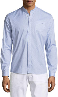 David Naman Mandarin Collar Long Sleeve Sportshirt