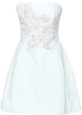 Marchesa Strapless Sequin-embellished Cotton And Silk-blend Mini Dress