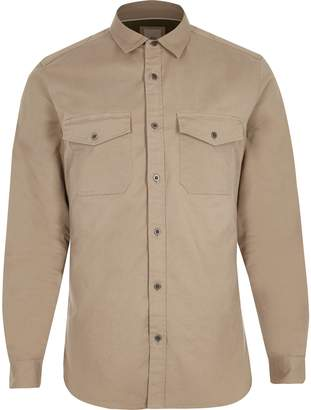 River Island Mens Beige long sleeve muscle fit military shirt