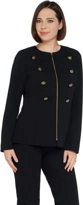 Dennis Basso Luxe Crepe Zip Front Military Jacket w/Trim