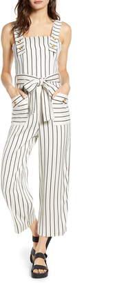 Topshop Stripe Tie Waist Wide Leg Crop Linen Blend Jumpsuit