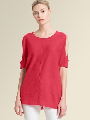 DKNY Short-Sleeve Linen Cold-Shoulder Pullover