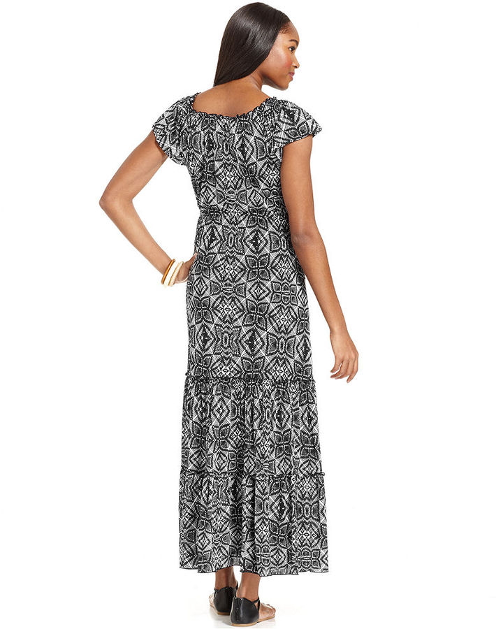 Style&Co. Petite Printed Peasant Maxi Dress