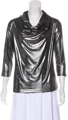 Adrienne Vittadini Metallic Cowl Neck Top w/ Tags