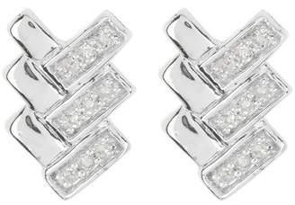 Carriere Sterling Silver Triple Bow Tail Diamond Earrings - 0.08 ctw