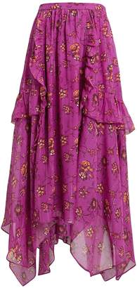Ulla Johnson Torri Magenta Silk Skirt