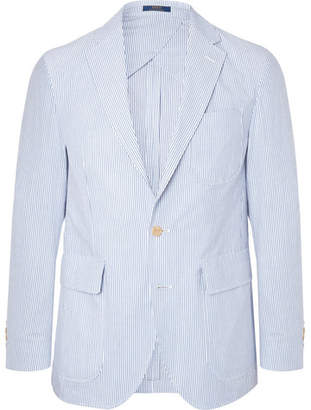 Polo Ralph Lauren Light-Blue Morgan Slim-Fit Unstructured Striped Cotton-Seersucker Blazer