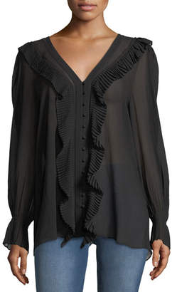 Frame V-Neck Button-Front Feminine Silk Blouse with Pleated Ruffles