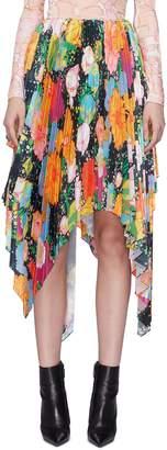 Richard Quinn Pleated asymmetric floral print skirt