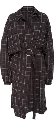 Sally LaPointe Oversized Plaid Gabardine Trench Coat