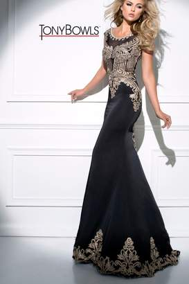 Tony Bowls Detailed Black Gown