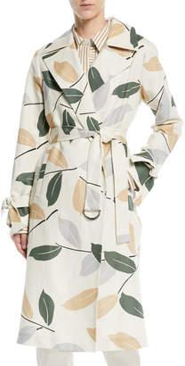 Lafayette 148 New York Rayna Leaf-Pattern Trench Coat