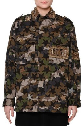 Valentino Star-Embroidered Camouflage Field Jacket, Green Camo $4,788 thestylecure.com