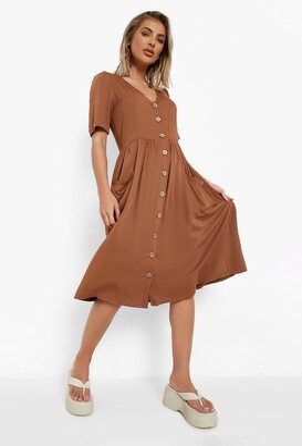 boohoo Button Front Pocket Detail Midi Dress