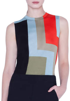Akris Colorblock Indian Summer Intarsia Cashmere/Silk Tank