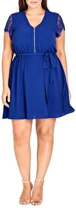 City Chic Sweet Zip Front Tunic Dress