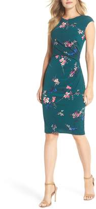 Eliza J Cap Sleeve Floral Print Sheath Dress