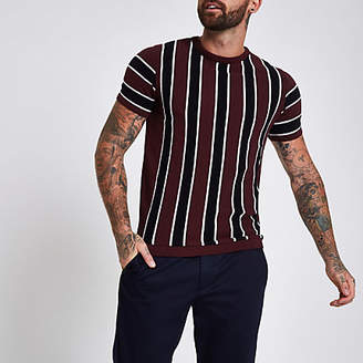 River Island Dark red slim fit stripe T-shirt